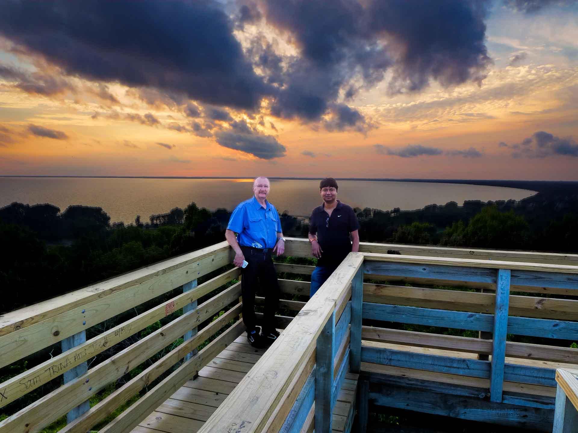 Max and Saurab at High Cliff Sunset